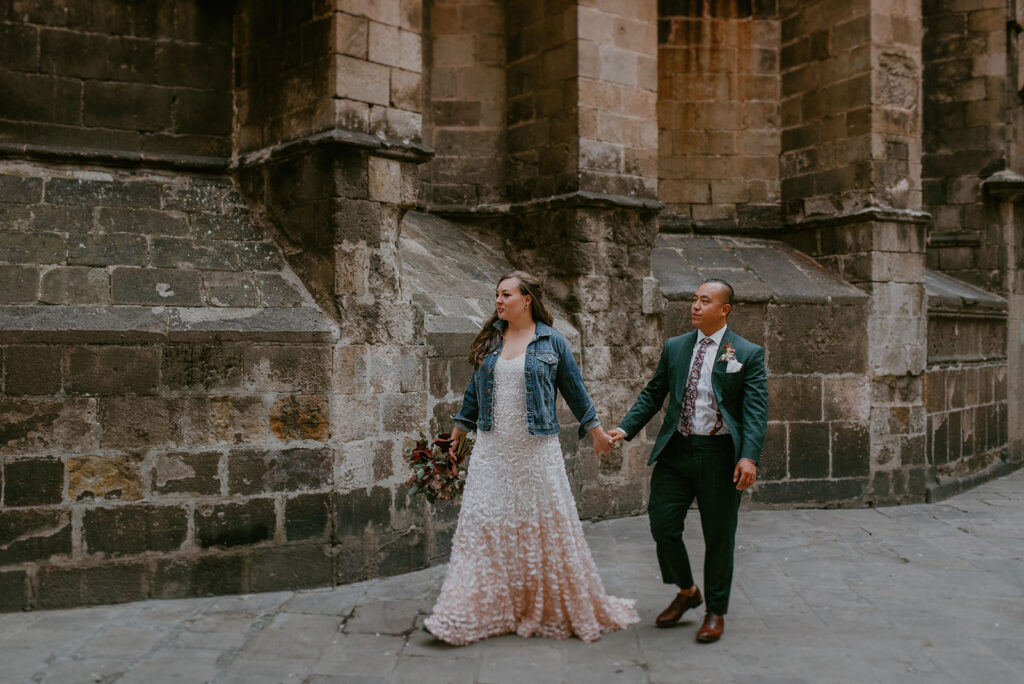 bride with denim jacket